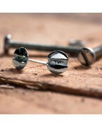 Edge Only - Metallic Round-head Screw Earrings Silver - Lyst
