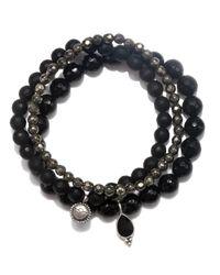 Satya Jewelry | Black Onyx & Pyrite Stretch Bracelet Set | Lyst