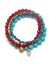 Satya Jewelry | Blue Carnelian & Turquoise Stretch Bracelet Set | Lyst