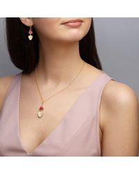 Dione London - Pink Artemis Ruby & Moonstone Two Stone Triangle Drop Earrings - Lyst