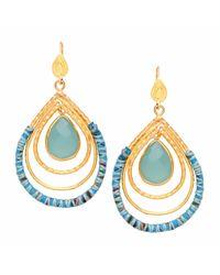 Ottoman Hands - Multicolor Aqua Chalcedony Tear & Silk Statement Drop Earrings - Lyst
