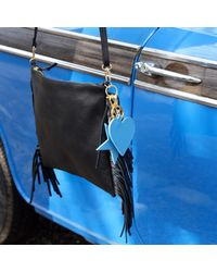 Davina Mulford London | Leather Heart Key Ring Blue | Lyst