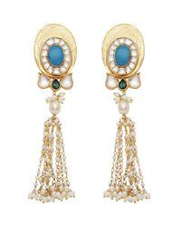 Carousel Jewels - Metallic Turquoise & Pearl Statement Long Earrings - Lyst