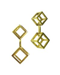 Stephanie Bates - Metallic Gold Double Cube Drop Earrings - Lyst