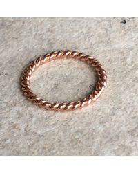 Latelita London - Metallic Cosmic Large Twisted Flax Ring Rosegold - Lyst