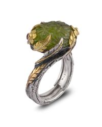 Emma Chapman Jewels - Green Peacock Peridot Diamond & Blue Sapphire Ring - Lyst