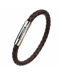 N'damus London - Mens Brown Leather Plaited Bracelet With Silver Clasp for Men - Lyst