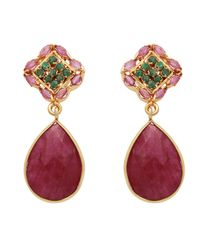 Carousel Jewels - Multicolor Dyed Ruby & Green Onyx Small Drop Earrings - Lyst