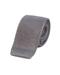 40 Colori - Metallic Grey Solid Silk Knitted Tie for Men - Lyst
