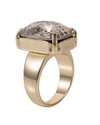 Nadia Minkoff - Metallic Gold Patina Oblong Stone Ring - Lyst
