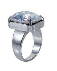 Nadia Minkoff - Metallic Silver Patina Oblong Stone Ring - Lyst