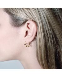 Tada & Toy | Metallic Star Hoops Rose Gold | Lyst