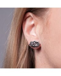 Edge Only - Metallic Pow And Bam Stud Earrings In Silver - Lyst