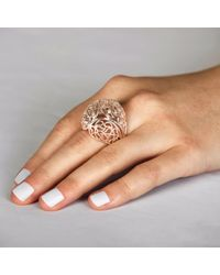 Sonal Bhaskaran - Metallic Shikhara Rose Gold Dome Ring Clear Cz - Lyst