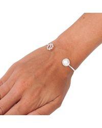 Leivan Kash - Metallic Gol Pearl Open Bangle Silver - Lyst