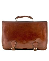 Maxwell Scott Bags - Brown Luxury Italian Leather Men's Satchel Briefcase Jesolo Classic Chestnut Tan for Men - Lyst