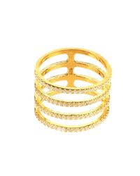 Latelita - Metallic Four Line Geometric Fashion Ring Gold - Lyst