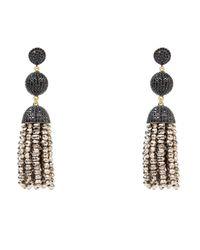 Latelita London | Metallic Tassel Ball Earring Pyrite Black Gold | Lyst