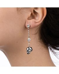 Nadia Minkoff - Metallic Crystal Skull And Spike Earrings Chrome - Lyst
