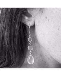 Auree Jewellery - Metallic Eivissa Gold & Rose Quartz Triple Drop Gemstone Earrings - Lyst