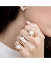 Joana Salazar - Metallic Spike Pearl Single Ring - Lyst