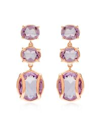 Alexandra Alberta - Pink Yellow Gold Plated Lexington Earrings With Rose De France Amethyst - Lyst