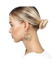 Carousel Jewels - Metallic Gold & Silver Textured Antique Finish Earrings - Lyst