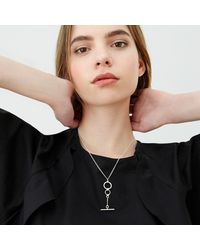 Alison Fern Jewellery - Metallic Albany Silver Circle & Bar Necklace - Lyst