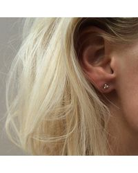 Agnes De Verneuil - Metallic Silver Stud Earrings Three Pearls - Lyst