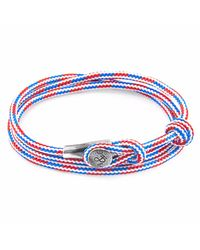 Anchor & Crew - Project-rwb Red White & Blue Dundee Silver And Rope Bracelet for Men - Lyst