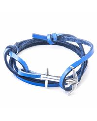 Anchor & Crew - Royal Blue Admiral Silver & Leather Bracelet for Men - Lyst