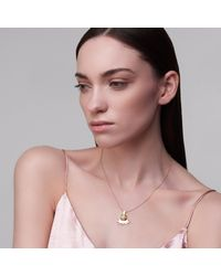 Ella Green Jewellery - Metallic Quarreling Swallows Pendant With Ethiopian Opal Yellow Gold - Lyst