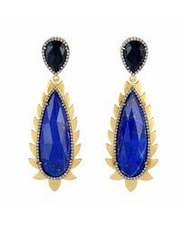 Meghna Jewels - Multicolor Flame Drop Earrings Lapis & Diamonds - Lyst