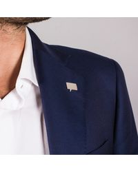 Edge Only - Metallic Speech Bubble Lapel Pin In Silver - Lyst