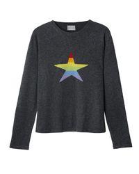 Orwell + Austen Cashmere - Gray Stars & Stripes Rainbow Cashmere Sweater - Lyst
