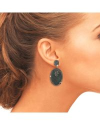 Latelita London - Multicolor Hamsa Grey Mother Of Pearl Oval Earring - Lyst