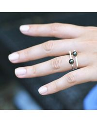 Neola - Metallic Minerva Gold Stacking Ring With Grey Pearl - Lyst