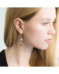 O.YANG - Green Pearl & Emerald Rod Earrings - Lyst