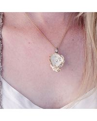 Hop Skip & Flutter - White Porcelain Gold Peony Pendant With Gold Plated Necklace - Lyst