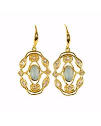 Neola - Metallic Norresa Gold Earrings With Aqua Chalcedony - Lyst