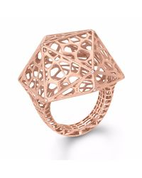 Vitae Ascendere - Multicolor Dodecahedron Rose Gold Cocktail Ring - Lyst