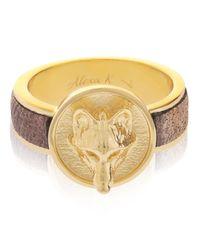Alexa K | Metallic Gold Wolf Leather Ring | Lyst