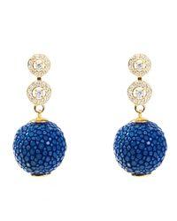 Latelita London - Stingray Ball Earring With Zircon Royal Blue - Lyst