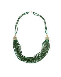 Latelita London - Cascading Tassel Statement Necklace Silver Green Onyx - Lyst