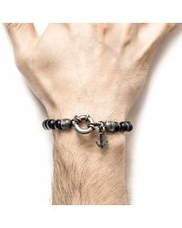 Anchor & Crew - Metallic Black Onyx Port Silver & Stone Bracelet for Men - Lyst