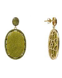 Latelita London - Green Stingray Pave Oval Earring Kiwi - Lyst