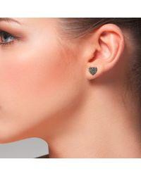 Latelita London - Metallic Diamond Heart Stud Earrings Rosegold - Lyst
