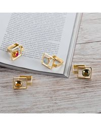 Nadia Minkoff - Metallic Square Frame Ring Golden Shadow - Lyst