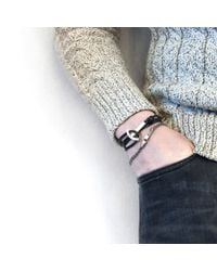 Anchor & Crew - Coal Black Clipper Anchor Silver & Flat Leather Bracelet for Men - Lyst