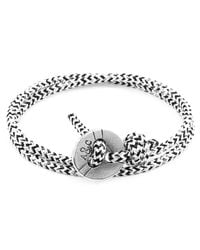 Anchor & Crew - White Noir Lerwick Silver & Rope Bracelet for Men - Lyst